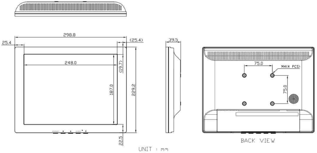 Technical Drawing of SRMHX-12 Series